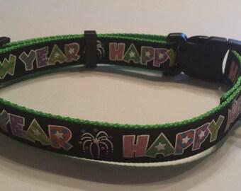 Happy New Year Dog Collar Black