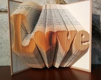 L<3ve - Folded Book Art - Fully Customizable, heart, love