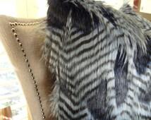 Blue Dark Navy Faux Fur Throw Pillow Cover - Fancy Feather Denim Fur Pillow - Two Tone Blue Navy Feather Faux Fur Throw Pillow - 16462