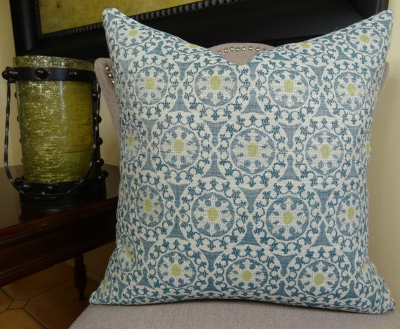 Decorative Throw Pillow Cover Teal Yellow Cream Geometric