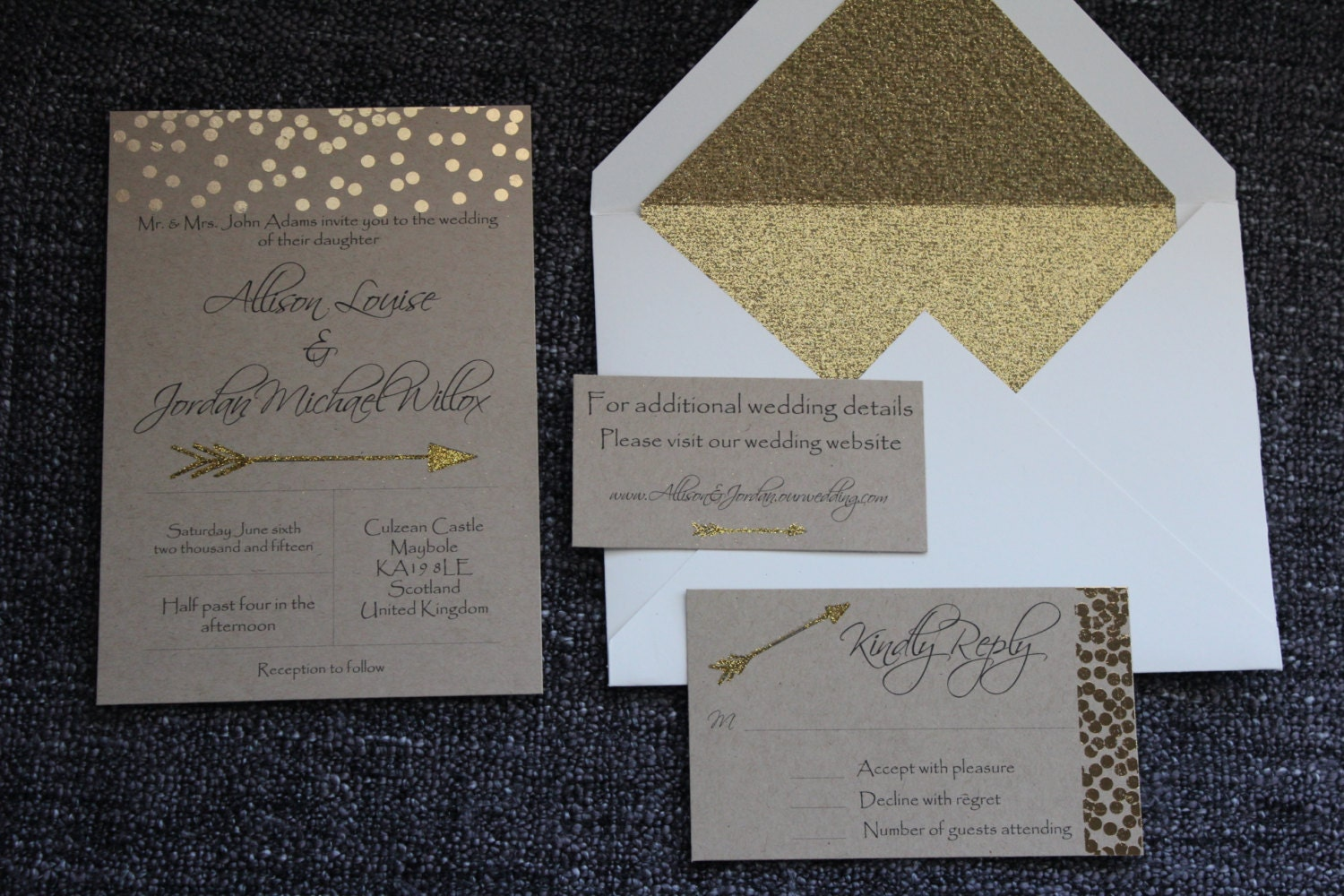 Handmade Wedding Invitation Response Card And Information Card