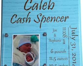 Newborn baby stat plaque and picture frame