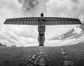 Beneath the Angel's Wings - fine art print, England, Angel of the North, sculpture, photograph, black and white, landscape