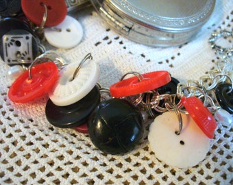 Vintage Red, White, and Black Buttons and Seed Pearls on a Silver Plated Double Chain Bracelet with Toggle Clasp, MarjorieMae