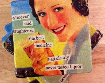 Funny Stone Coasters ~ Funny Coasters ~ Natural Stone Tile Coasters ~ Stone Coasters ~ Set of 4 Coasters ~ Wine Coasters