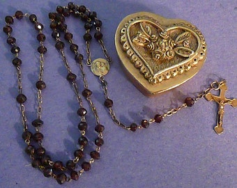 Vintage Amethyst Faceted Glass Rosary Brass Crucifix Brass Heart Casket Extra Nice 574