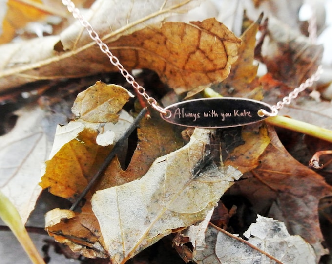 """Handwritten Yellow Gold Rose Gold or Sterling Silver Oval Necklace (.950"""" x .250"""")Girlfriend. Wife, Loved Mother"""