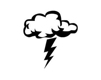 """Storm Cloud Lightning Bolt - Vinyl Decal Sticker - 3.75"""" long x 4"""" high - 24 Colors - [#1399]"""