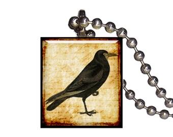 Vintage Crow Raven Blackbird - Reclaimed Scrabble Tile Pendant Necklace