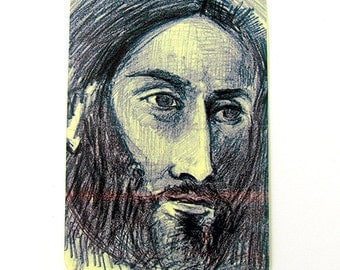Limited Edition ATC Print  - Portrait of a man on yellow paper- Limited Edition