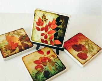 Autumn Leaves Coasters -  Fall Season Coasters - Natural Stone Tiles - Home Decor - Season Coasters - Housewarming - Set of 4