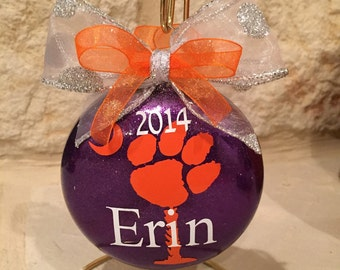 Personalized Clemson Tigers Christmas Ornament