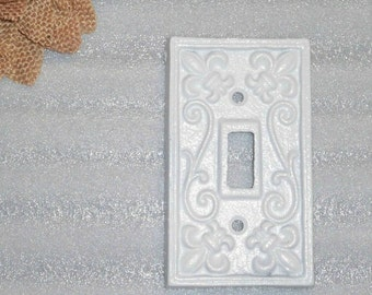 Light Switch Plate/Light Switch Cover/Country Decor/White Cast Iron/Single Light/Switch Cover/French Country Decor/Shabby Chic