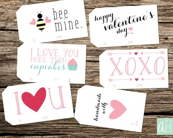 Printable Valentine's Tags: Instant Download