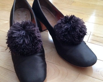 Margaret Jerrold Brown Satin Shoes with Large Brown Pom Accent, 6.5 N ~ Photo Prop ~ TV and/or Movie Set ~ Designer Shoe