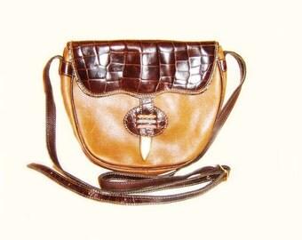 Vintage  Leather Handbag, Retro Genuine Leather Women Shoulder Bag, 80s Leather Purse, Crossbody Bag, Leather Retro Lady Purse