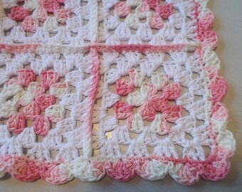 Pink Granny Square Blanket:  100% Cotton