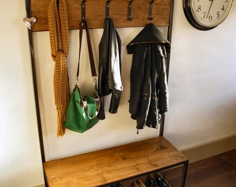 Industrial style coat stand/ bench seat