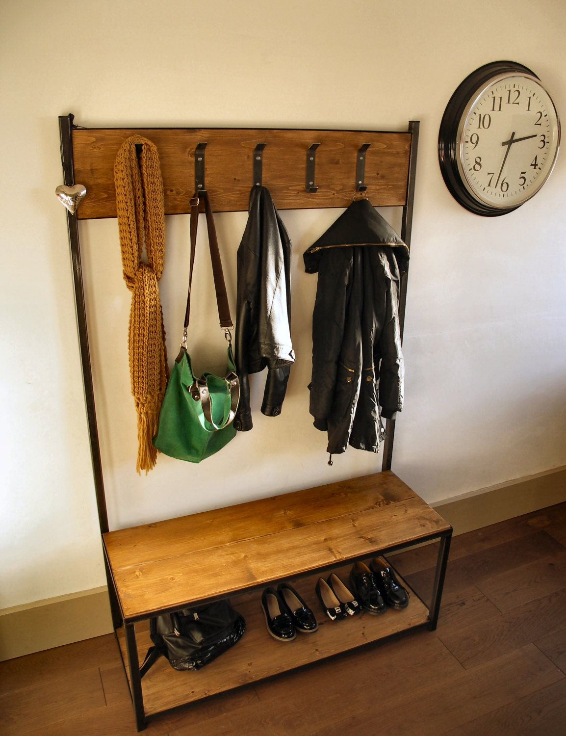 Industrial Style Coat Stand Bench Seat