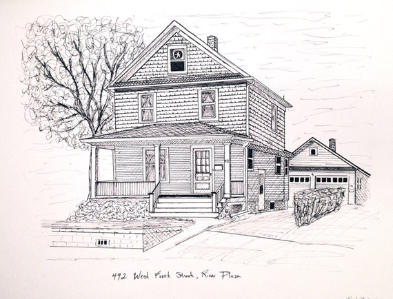 Pen House Drawing Pen And Ink Custom Drawn House