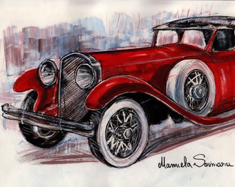 Downton Abbey Drawing, Classic Car, 1910s Car, Vintage Car, Classic Automobile, Red Car Painting, Downton Abbey Gift, Wall Art, Office Decor