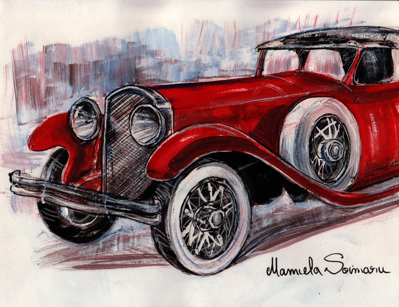 Downton Abbey Drawing Classic Car Car Vintage Car