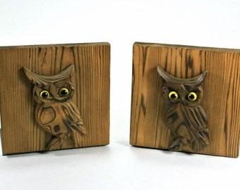 Bookends Wood Metal Owl OMC Japan