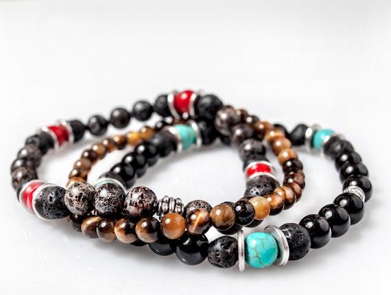 set of 3 mens onyx bracelets mala bracelet by libidomenjewelry