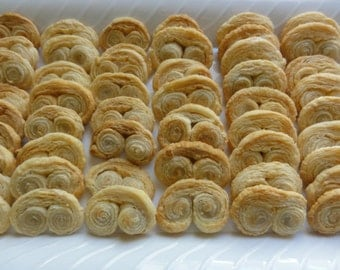 2 dozen /24 sweet palmiers french cookies, sweet palmiers, authentic french cookie, puff pastry cookies, auth. sweet palmiers