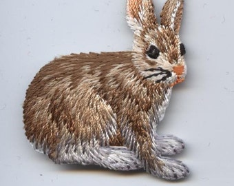 Natural Rabbit Hare Iron on Applique 155461A