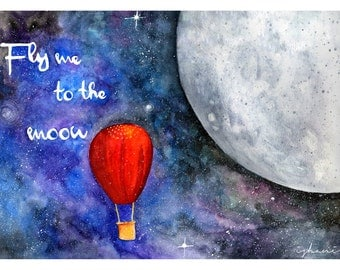 Fly me to the moon. Printed illustration