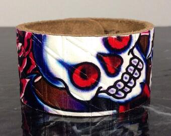 "Upcycled leather belt cuff bracelet, size 8"" only, Ed Hardy"