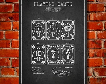 1877 Playing Cards Patent, Canvas Print, Wall Art, Home Decor, Gift Idea