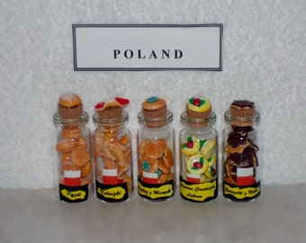 Set of 5 MINIATURE COOKIES for POLAND Keepsake - One of the Anndora Collections of International Polymer Clay Cookie Sets.