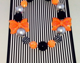 Orange and Black Sparkle Necklace