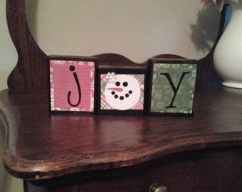 Joy..wood block sign, Christmas blocks, Country Christmas decor