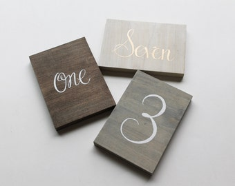 Hand Painted Wood Table Numbers | 4x6 | White Wash Stained Wood