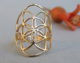 Gold Seed of Life Ring, Gold Flower of Life Ring, Gold Ring, Sacred Geometry Ring, Ethnic Ring, Flower Ring, Round Ring, Big Ring