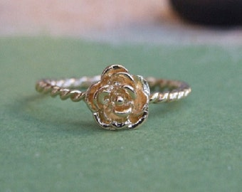Rose Flower Ring, 14K Yellow Gold Plated Ring, Floral Ring