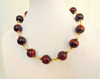 Red tigers eye and gold filled choker necklace