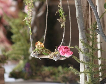 Fairy Swing Handcrafted by Olive* ~ Pink and Gold  Faeries swing, Faerie, Fae, Terrarium Accessories, Fairy Swing, Miniature Garden