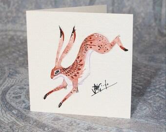 Spring Hare Hemp Card (Hand Painted)