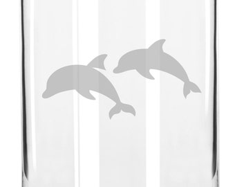 Awesome Swimming Dolphins Hand Etched 16 oz Glass Can Cup