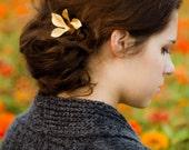 Hair Accessories Gold Rose Leaf Fall Hair Pins Rose Leaf  Bobby Pins Pretty  Woodland Hair Accessory Gold Leaf Hair Clip