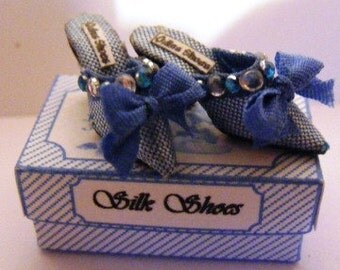 Dolls house miniature blue silk shoes 1/12th scale