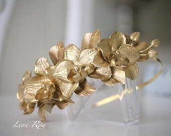 Orchids headpiece. Gold headpiece. Wedding headpiece. Bridal headpiece.Bridal crown. Bridal floral headpiece. Style 537