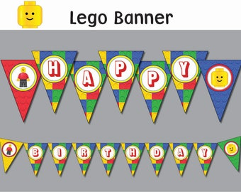 LEGO  banner Printable  (all letters)  INSTANT DOWNLOAD