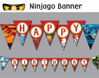Ninjago  banner Printable  (all letters)  INSTANT DOWNLOAD