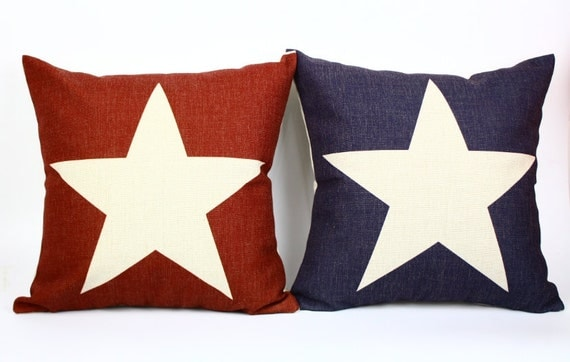 IKEA simple Nordic Five-pointed star red and black cotton linen throw pillow cushion cover pillowcase/home decor/houseware