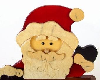 Vintage Wood Santa Card Holder